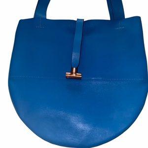 GAG Blue Leather Circular Tote Hobo Bag Large